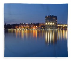 Coeur D Alene Night Skyline Fleece Blanket