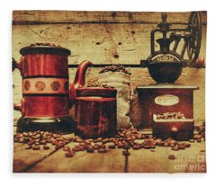 Coffee Bean Grinder Beside Old Pot Fleece Blanket