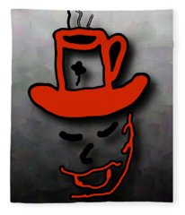 Coffee Hat Man Fleece Blanket