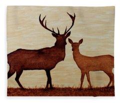 Coffee Painting Deer Love Fleece Blanket