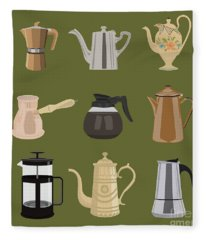 Coffee Pots Fleece Blanket