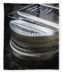 Coins Of Silver Stacking Fleece Blanket