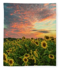 Colby Farm Sunflowers Fleece Blanket