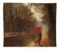Cold Autumn Morning Painting Fleece Blanket