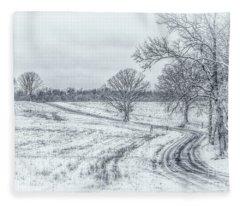Cold Winter Morning Sketch Fleece Blanket