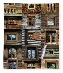 Collage From Handmade Traditional Wooden  Windows In Village Museum Bucharest Fleece Blanket