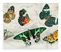 Collection Of Various Butterflies Fleece Blanket