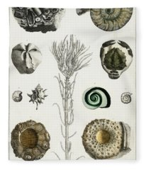 Collection Of Various Illustrated Fossils Fleece Blanket