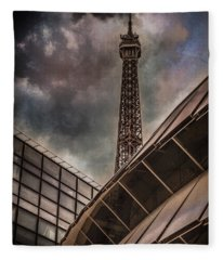 Paris, France - Colliding Grids Fleece Blanket