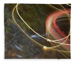 Fleece Blanket featuring the pyrography Colliding Worlds  by Michael Lucarelli