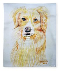 Collie Mix Dog Sketched Art Fleece Blanket
