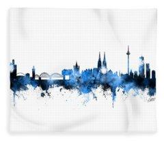Cologne Germany Skyline Blue Signed Fleece Blanket