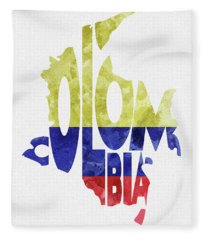 Colombia Typographic Map Flag Fleece Blanket