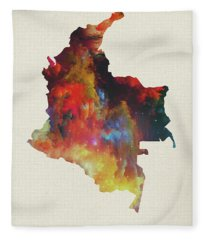 Colombia Watercolor Map Fleece Blanket