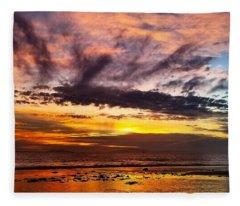 Color Burst Malibu Sunset Fleece Blanket
