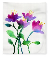 Color Flowers Fleece Blanket