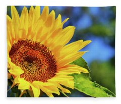 Color Me Happy Sunflower Fleece Blanket