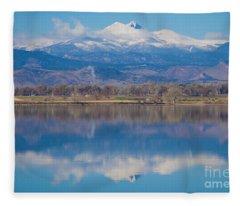 Colorado Longs Peak Circling Clouds Reflection Fleece Blanket