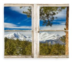 Colorado Rocky Mountain Rustic Window View Fleece Blanket