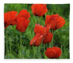 Colorado Wild Poppies Fleece Blanket