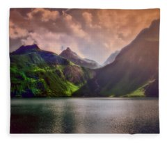 Colored Lakescape With Mountains Fleece Blanket