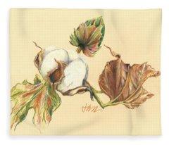 Colored Pencil Cotton Plant Fleece Blanket