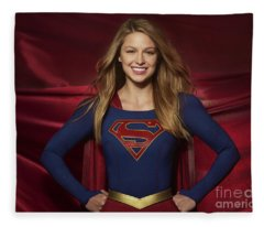 Colored Pencil Study Of Supergirl - Melissa Benoist Fleece Blanket