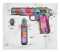 Colorful 1911 Colt 45 Browning Firearm Patent Artwork Minimal Fleece Blanket