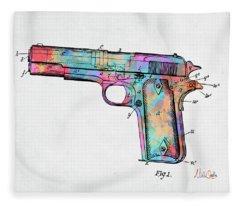 Colorful 1911 Colt 45 Browning Firearm Patent Minimal Fleece Blanket