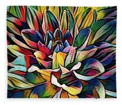 Colorful Abstract Dahlia Fleece Blanket