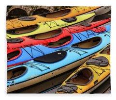 Colorful Alaska Kayaks Fleece Blanket