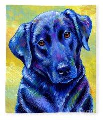 Colorful Black Labrador Retriever Dog Fleece Blanket