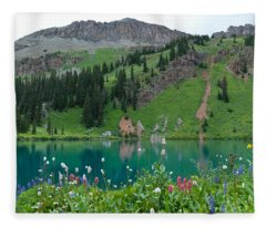 Colorful Blue Lakes Landscape Fleece Blanket