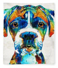 Colorful Boxer Dog Art By Sharon Cummings  Fleece Blanket