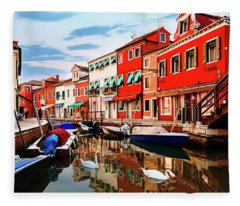 Colorful Burano Sicily Italy Fleece Blanket