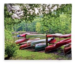 Colorful Canoes At Hungry Mother State Park Fleece Blanket