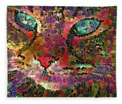 Flower Cat 1 Fleece Blanket