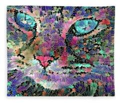 Flower Cat  Fleece Blanket