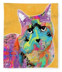 Colorful Cat With An Attitude- Art By Linda Woods Fleece Blanket