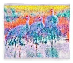 Colorful Cranes Fleece Blanket