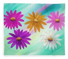Colorful Daisies Fleece Blanket
