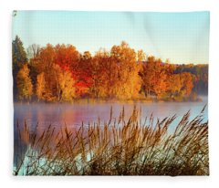 Colorful Dawn On Haley Pond Fleece Blanket
