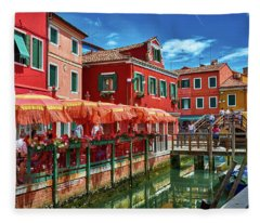 Colorful Day In Burano Fleece Blanket