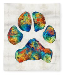 Colorful Dog Paw Print By Sharon Cummings Fleece Blanket
