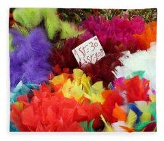 Colorful Easter Feathers Fleece Blanket