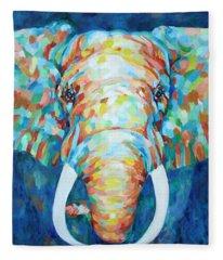 Colorful Elephant Fleece Blanket