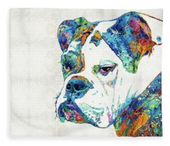 Colorful English Bulldog Art By Sharon Cummings Fleece Blanket