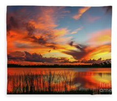 Colorful Fort Pierce Sunset Fleece Blanket