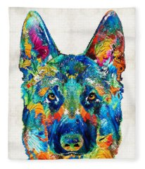 Colorful German Shepherd Dog Art By Sharon Cummings Fleece Blanket