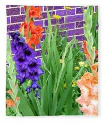 Colorful Gladiolas Fleece Blanket